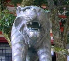 京都 鞍馬寺のパワースポット 狛虎「あ」です